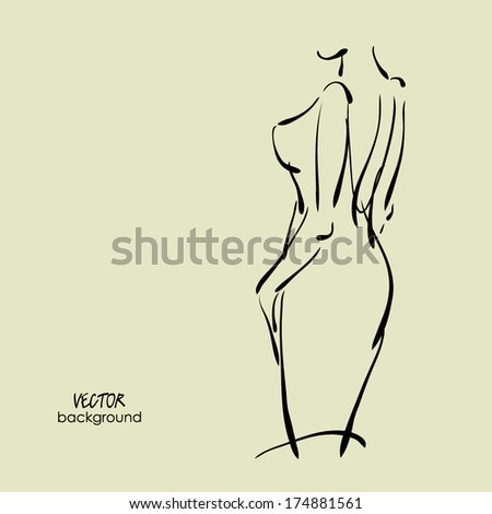 art  background with figure of beautiful young woman  in party dress in her back, sketch vector