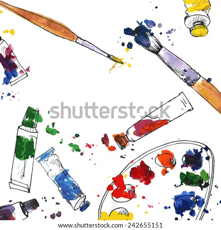 art background with palette,  tubes of paint, brushes and paint stains, hand drawn vector illustration - stock vector