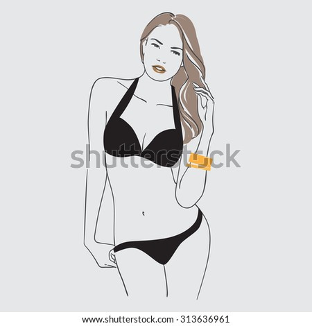 Art background with standing beautiful young sexy woman in black  swimsuit with long  blonde hair, sketch vector illustration. - stock vector