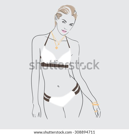 Art background with standing beautiful young sexy woman in black white swimsuit with long wet blonde hair, sketch vector illustration. - stock vector