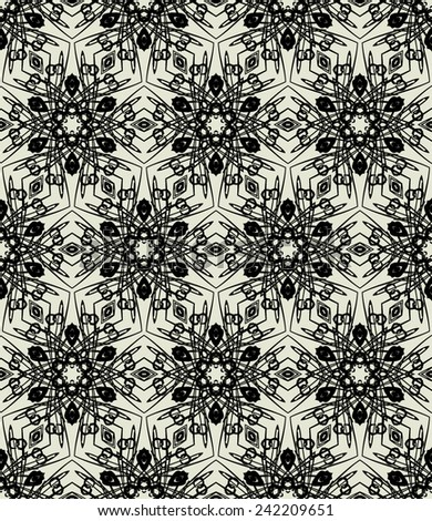 art black graphic geometric seamless pattern, rectangle background with floral stars and snowflake ornament
