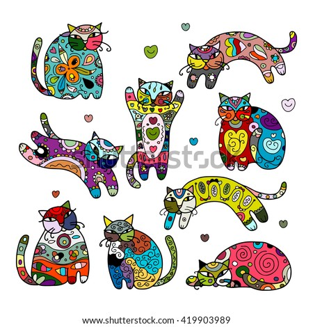 Art cats with floral ornament for your design - stock vector