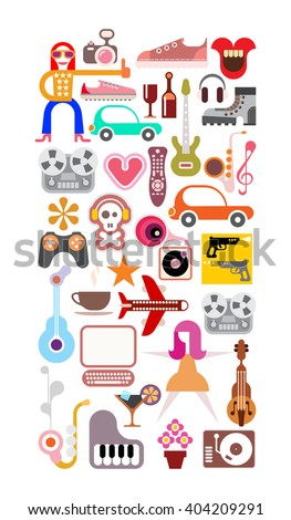 Art collage of leisure and hobby icons. Vector images isolated on white background.