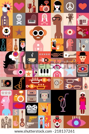 Art Collage with people portraits and many different images. Vector illustration. - stock vector