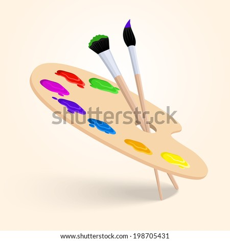Art color palette with paintbrush drawing tools  isolated on white background vector illustration - stock vector
