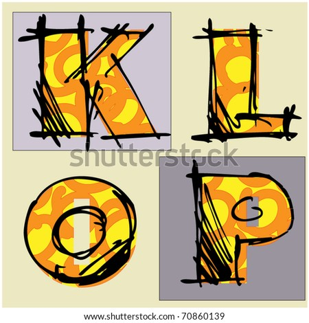 art colorful alphabet, 7 of set - stock vector