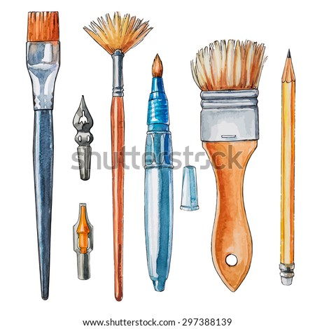 Art crafts. Vector watercolor drawing. - stock vector