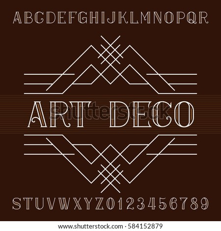 Art deco alphabet vector font in outline style. Serif type letters and numbers. Stock vector typeface for your design.