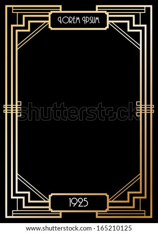 art deco border template vector/illustration - stock vector
