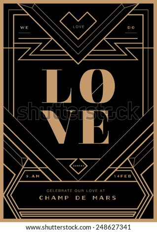 Art deco border wedding invitation template vector/ illustration/ Valentines day proposal letter - stock vector