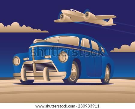 Art Deco Car with Plane - stock vector