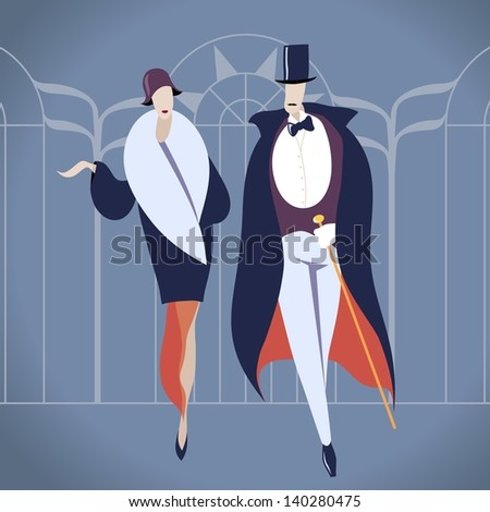 Art deco couple vector illustration - stock vector