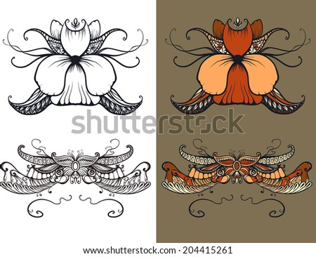 Art Deco floral ornament, typography, tattoo - stock vector