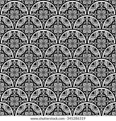 Art deco floral waves pattern. Vintage vector pattern reminiscent art deco style wave seamless. - stock vector