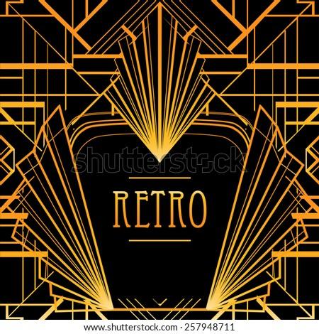Art deco geometric frame. Golden pattern in 1920's style. - stock vector