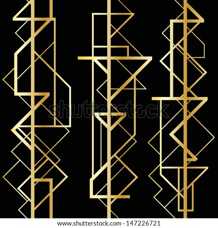 Art deco geometric frame (1920's style) - stock vector