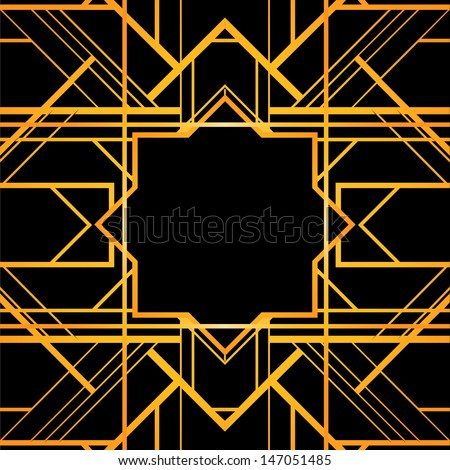 Art deco geometric patterned background (1920's style)  - stock vector