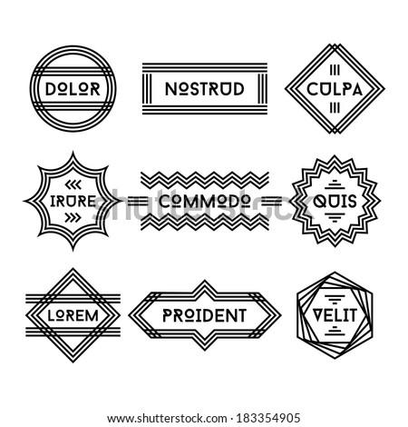 art deco geometric vintage label  - stock vector