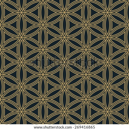 art deco hexagonal floral pattern. can by tiled seamlessly - stock vector