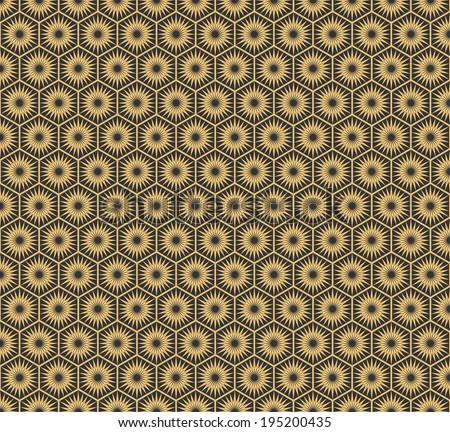 Art Deco hexagonal seamless vintage wallpaper pattern - stock vector