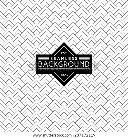 art deco monochrome seamless arabic black and white wallpaper or background with hipster label or badge