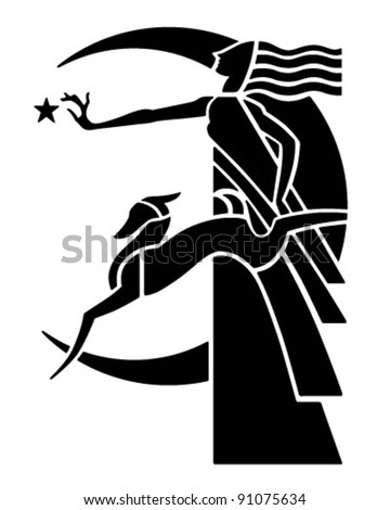 Art Deco Moon Goddess With Dog - Retro Clipart Illustration - stock vector