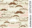 Art Deco Mustache seamless pattern, retro style, vector illustration - stock vector