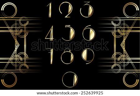 Art Deco number pattern - stock vector