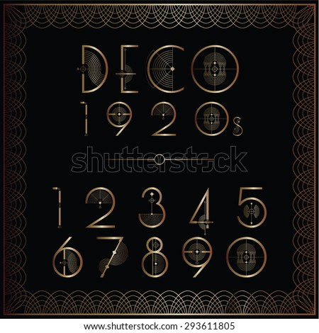 Art deco number set in gold - stock vector