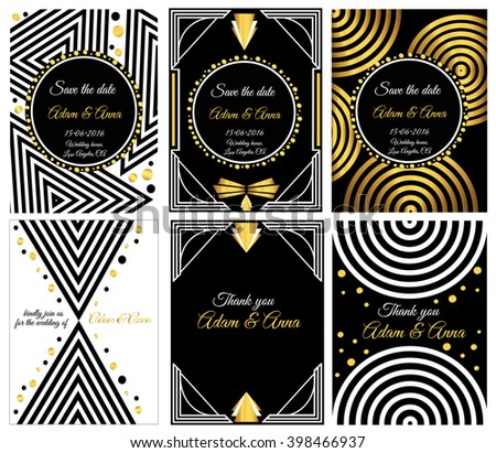 Art deco gatsby vector cards vector stock vector 398466937 art deco or gatsby vector cards vector card templates ideal for save the date stopboris Image collections
