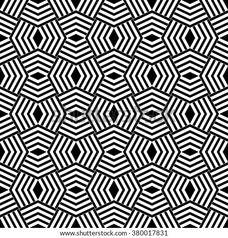 Art deco seamless pattern. Stylish modern geometric texture. Repeating polygonal shapes, lines, rhombuses. Monochrome. Backdrop. Web. Vector element of graphic design - stock vector