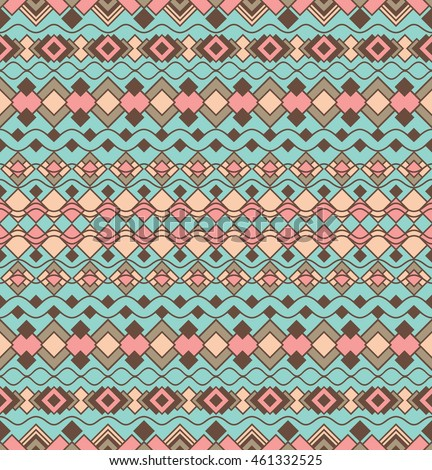 Art Deco Shapes Pattern 2 of geometric motifs in turquoise and coral.