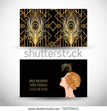 Art deco style business card sample stock photo photo vector art deco style business card sample text abstract vintage patterns and flapper girl colourmoves
