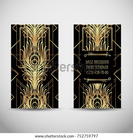 Art deco style business card sample stock vector royalty free art deco style business card sample text abstract vintage patterns and flapper girl reheart Choice Image