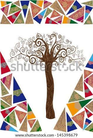 Art deco style tree idea isolated background. This illustration is layered for easy manipulation and custom coloring - stock vector