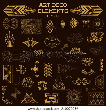 Art Deco Vintage Frames and Design Elements - hand drawn in vector - stock vector