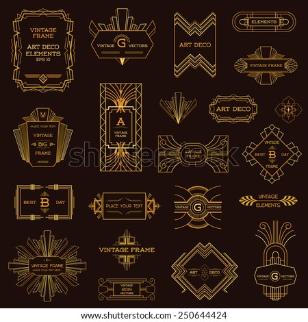 art deco design deco vintage frames design elements stock vector 250644424 29737