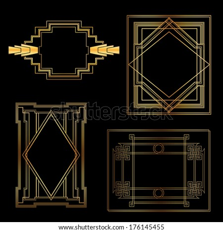 Art Deco Vintage frames and design elements - with place for your text - in vector - stock vector