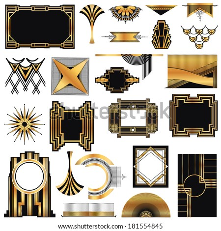 Art deco vintage frames and design elements with place for Deco graphic