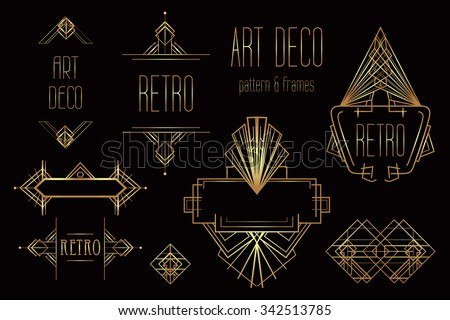 Art Deco vintage patterns and design elements. Retro party geometric background set (1920's style). Vector illustration for glamour party, thematic wedding or textile prints. - stock vector