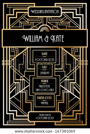 art deco wedding invitation card template vector/illustration - stock vector
