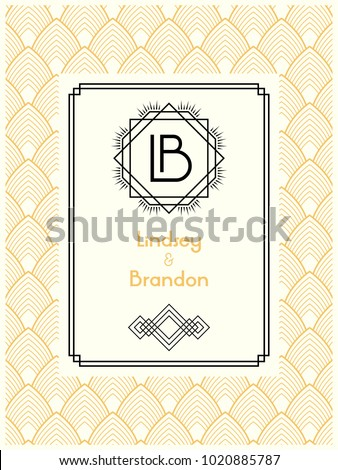 Art deco wedding invitation card template stock vector 1020885787 art deco wedding invitation card template with monogram initials logo lb letters vector card in stopboris Images