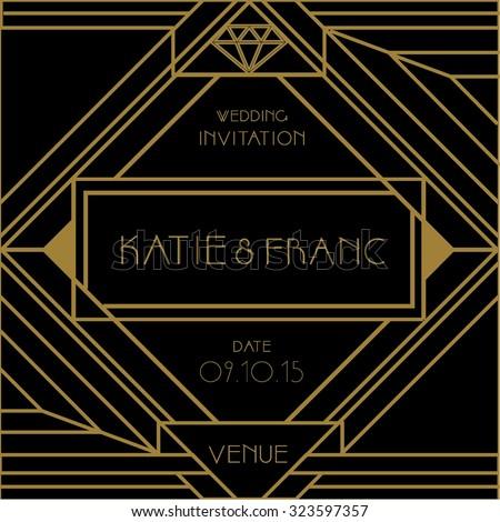 Art deco wedding invitation card vector stock vector 323597357 art deco wedding invitation card vector illustration valentines day proposal card diamonds are stopboris Choice Image