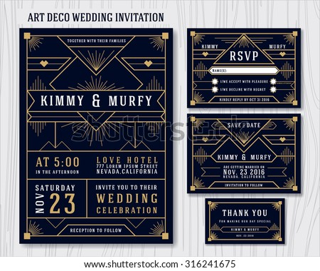 Art Deco Wedding Invitation Design Template. Include RSVP card, Save the date card, thank you tags. Classic Premium Vintage Style Frame Vector illustration.