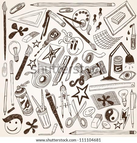 Art Doodles - Vector - stock vector