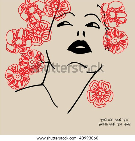 art drawing girl - stock vector