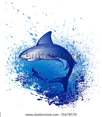 Art drawn by a great white shark swims in the deep blue sea. - stock vector