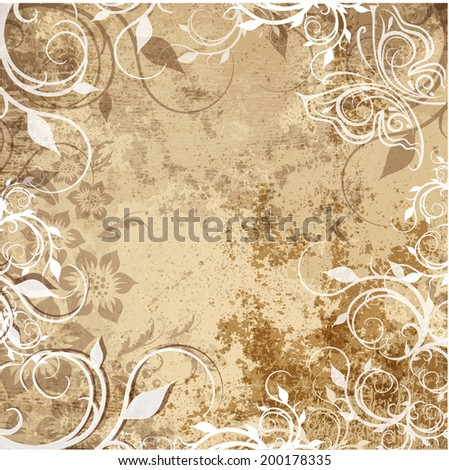 art floral ornamental grunge background in sepia and brown colors - stock vector
