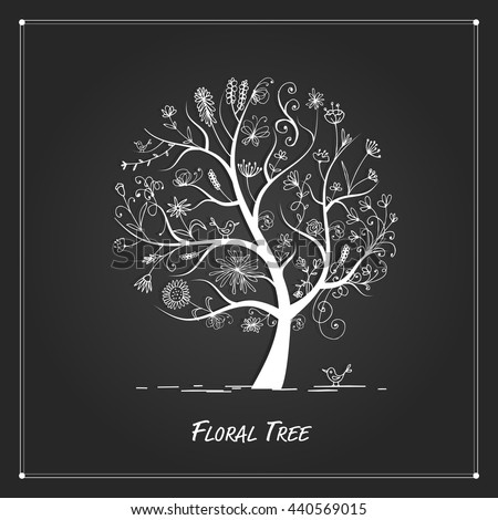 Art floral tree for your design on black background - stock vector