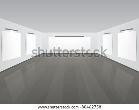 Art Gallery | Showroom with blank frames and place for your text. Vector illustration.